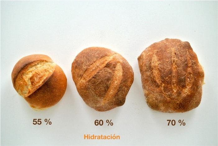 Tres panes con distintos grados de hidratación