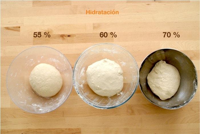 Distintas hidrataciones tras el amasado