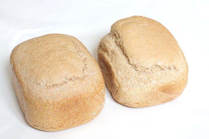 50% harina integral a la izquierda; 25%, a la derecha
