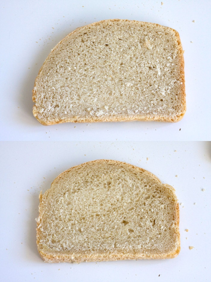 La rebana superior, de harina de fuerza, tiene la miga más prieta que la inferior, de harina panadera.