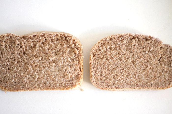 Comparación de pan de centeno con prefermento y sin él