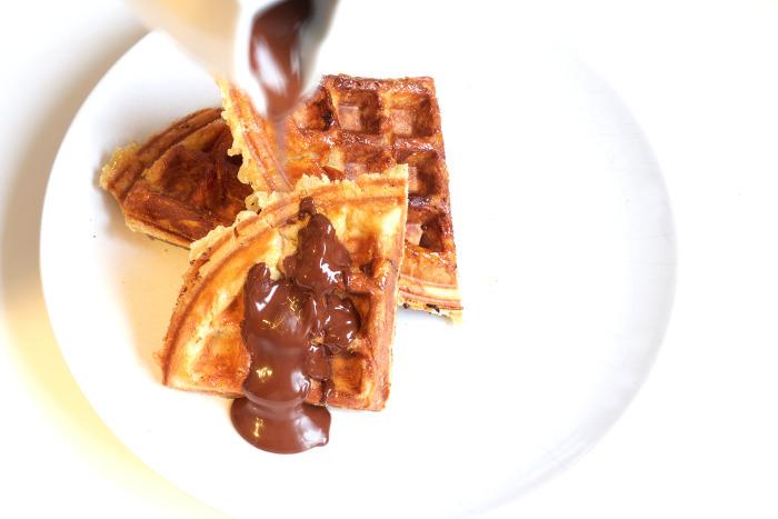 Gofres de lieja con chocolate